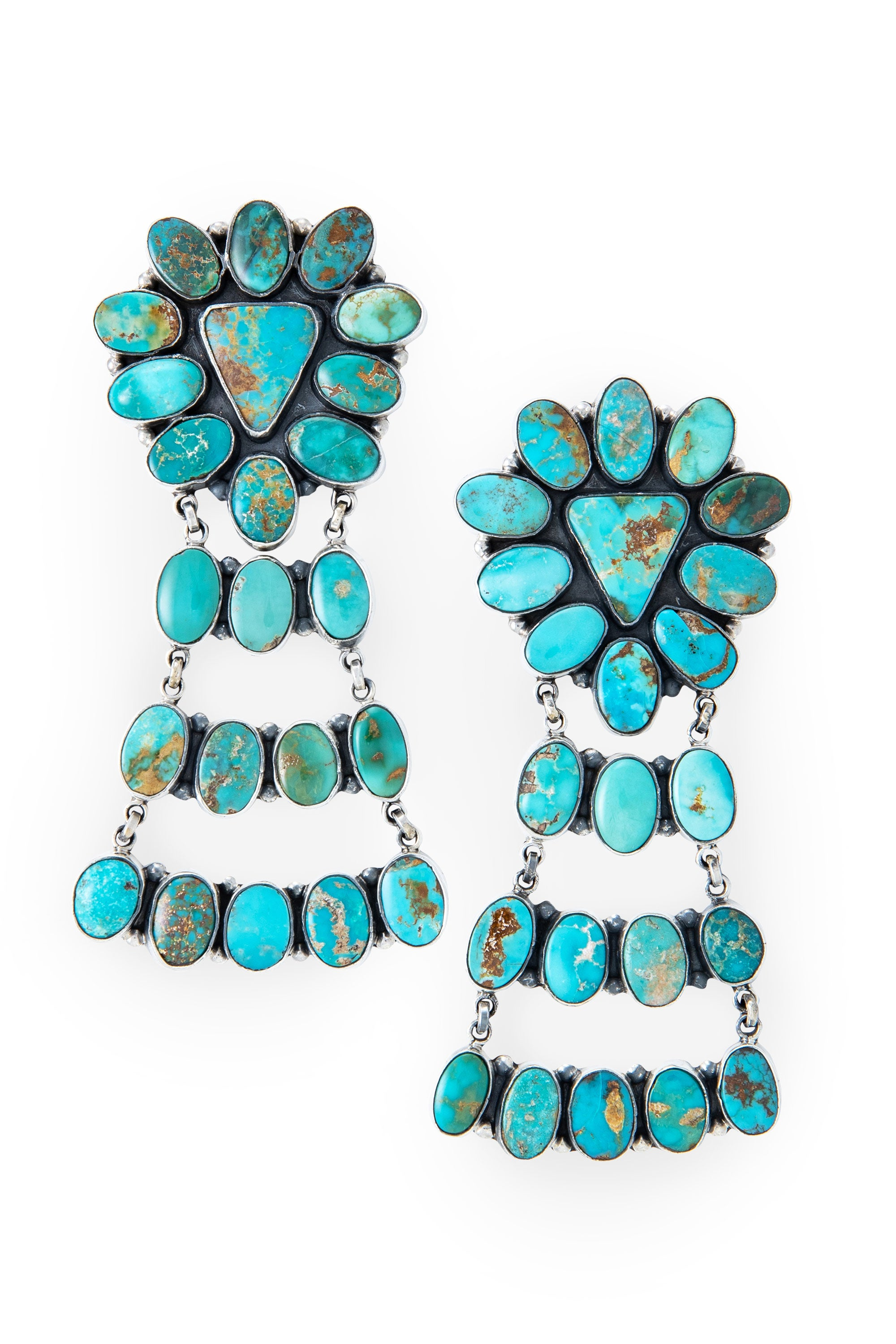 Earrings, Chandelier, Turquoise, Federico, Comtemporary,534