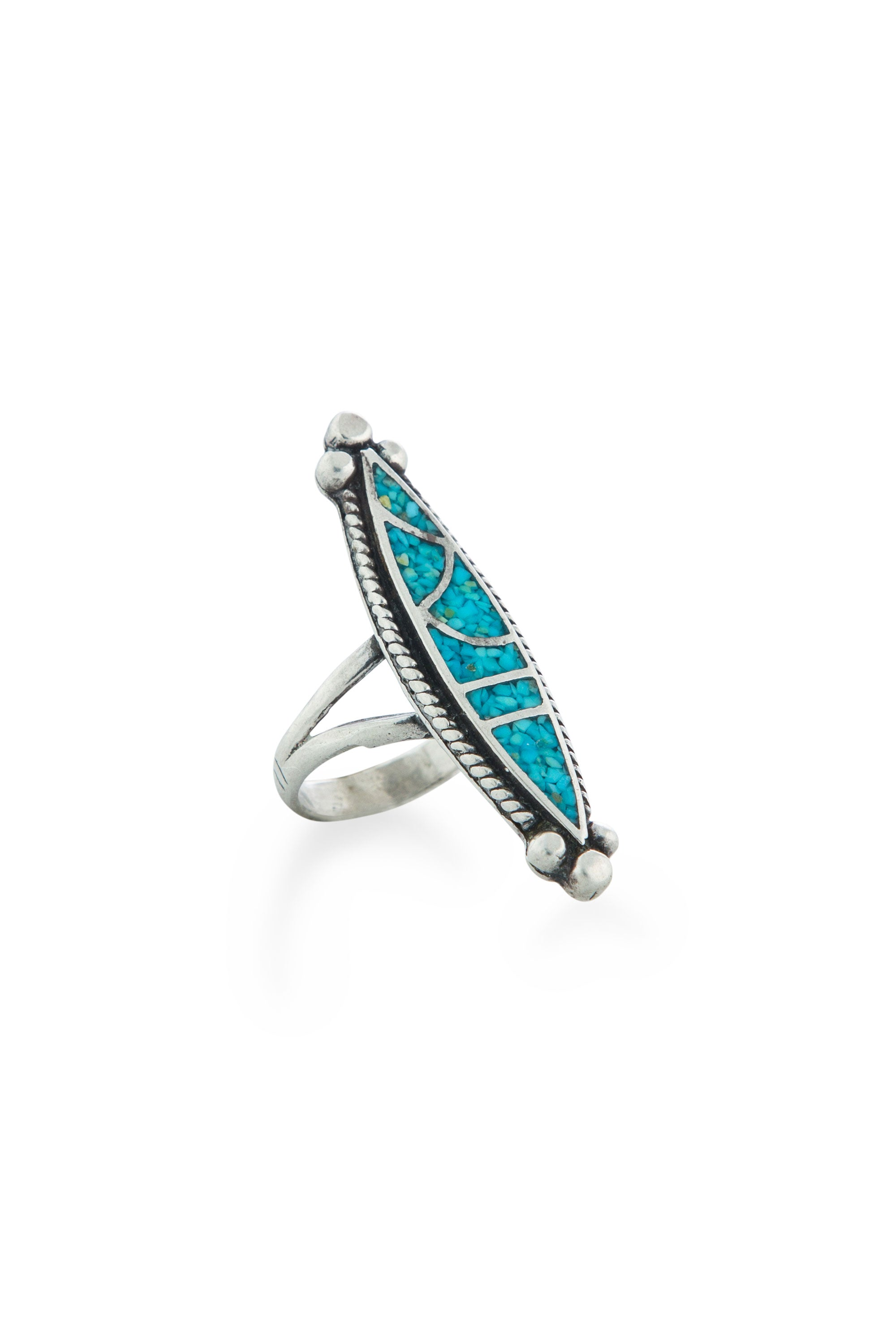 Ring, Inlay, Turquoise & Sterling Silver, Vintage, 588