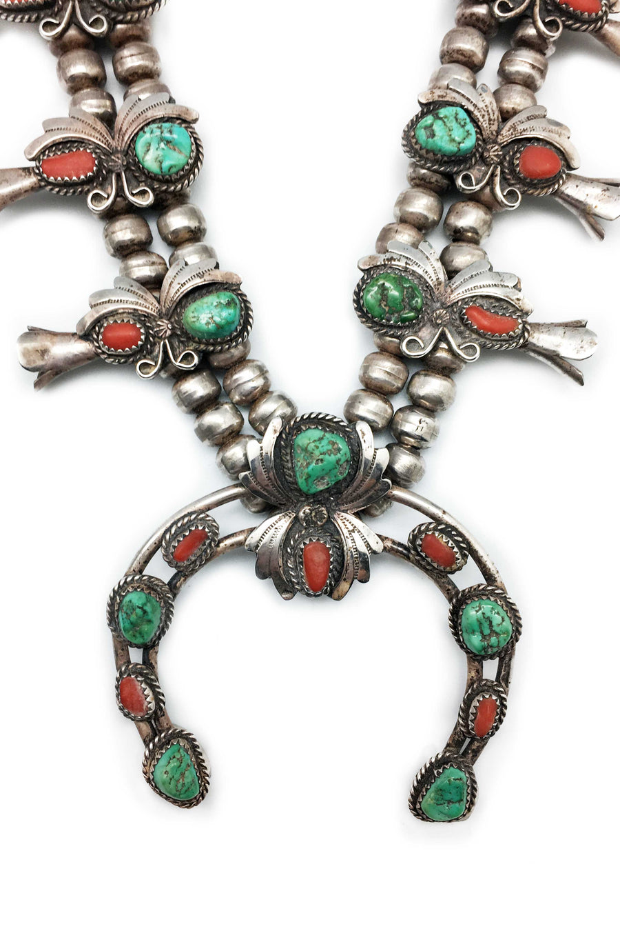 Necklace, Squash Blossom, Vintage, Turquoise & Coral, 1970's
