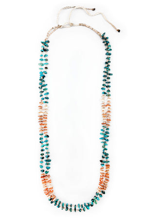 Necklace, Natural Stone, Tab & Heishi, Turquoise & Spiny, Vintage, 588