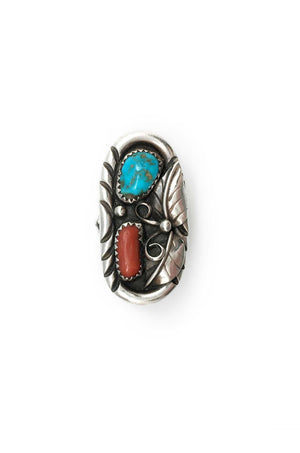 Ring, Coral & Turquoise, Vintage, JB