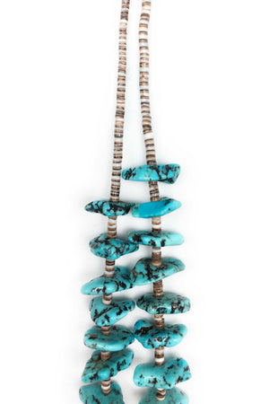 Necklace, Natural Stone, Tab & Heishi, Turquoise, Vintage, 589