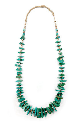 Vintage Turquoise Tab and Heishi Necklace 438