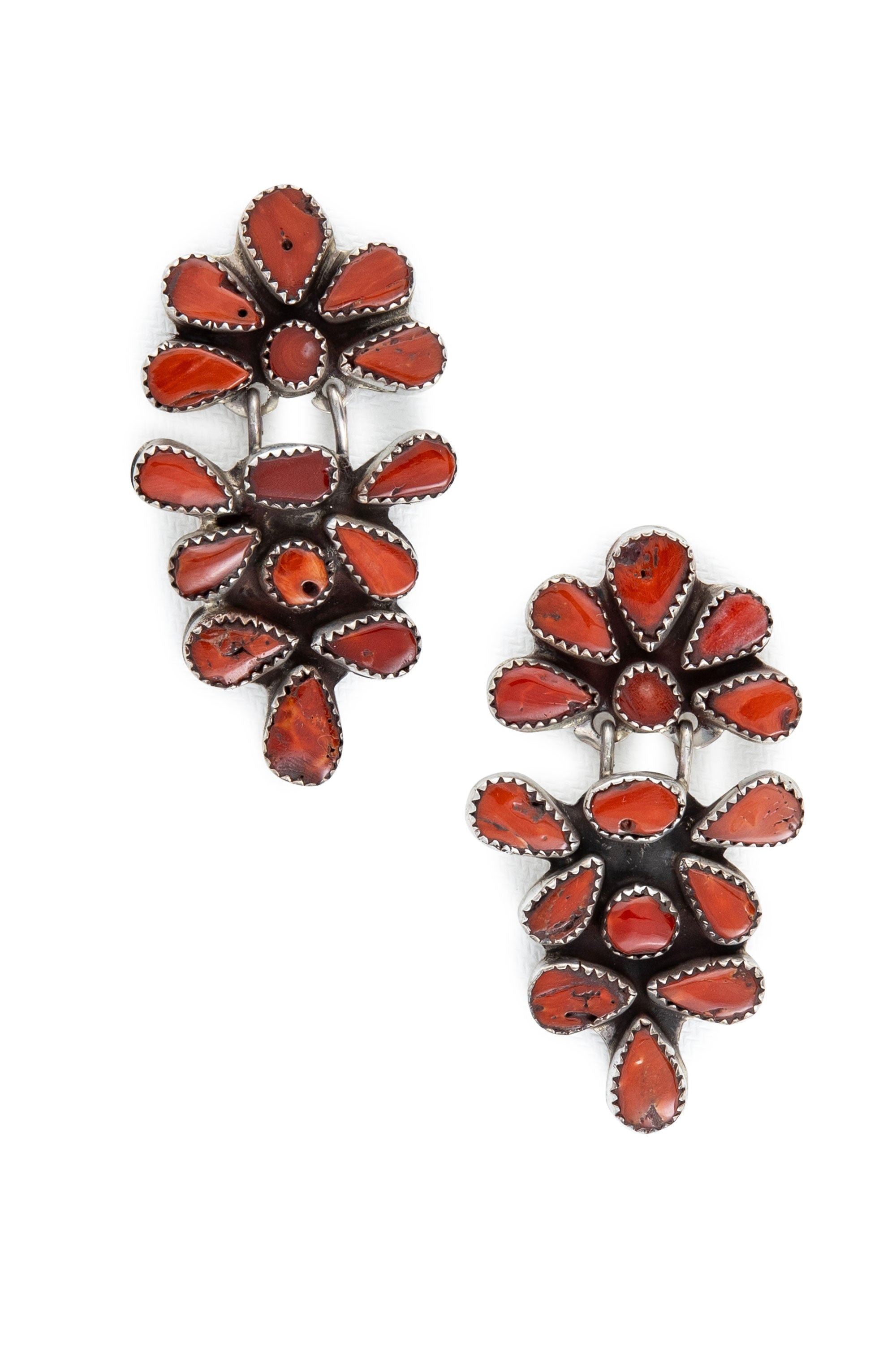 Earrings, Oscar Betz, Triangle, Spiny Coral, Hallmark, 585C1
