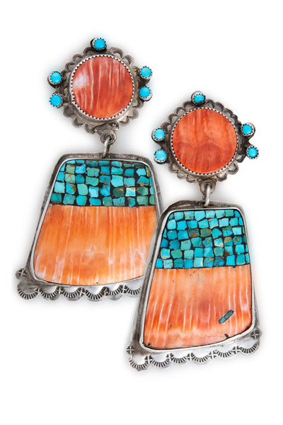 Earrings, Spiny Oyster & Turquoise, Pueblo Shell, 584