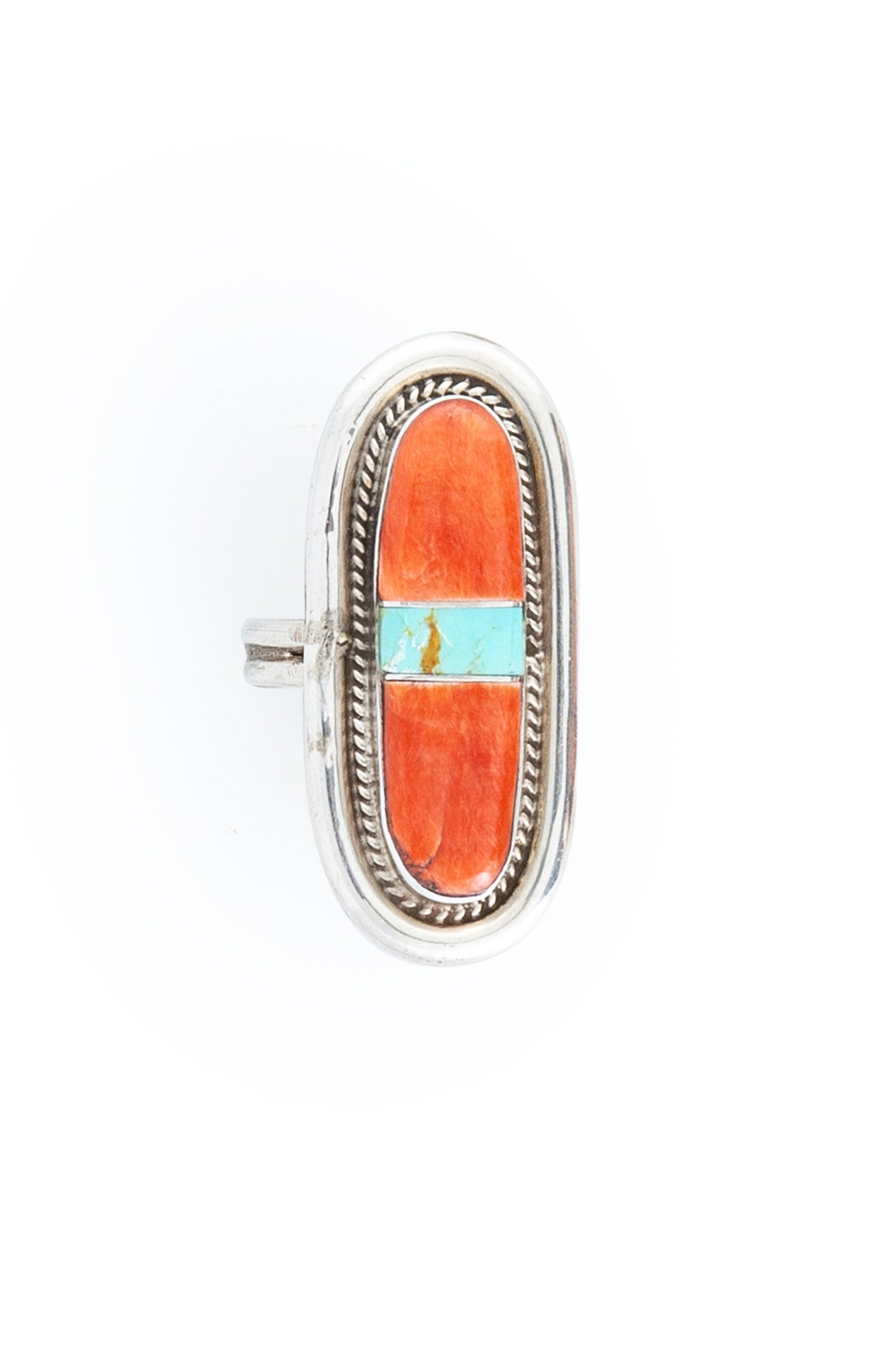 Ring, Inlay, Coral, Channel, Hallmark, Vintage, 623