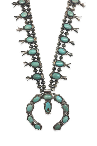 Necklace, Squash Blossom, Turquoise, Vintage, Estate, 800