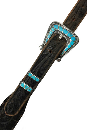 Belt, Ranger, Vintage, Turquoise, Tooled Leather, 602