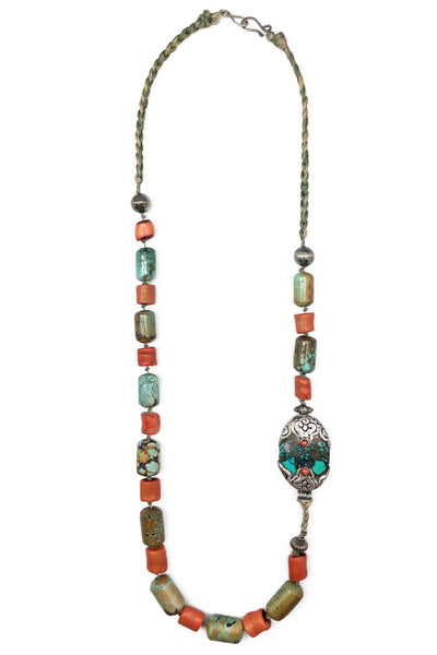 Necklace, Natural Stone, Coral & Turquoise, Vintage, Tibetan