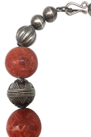 Necklace, Natural Stone, Coral, Vintage, 653