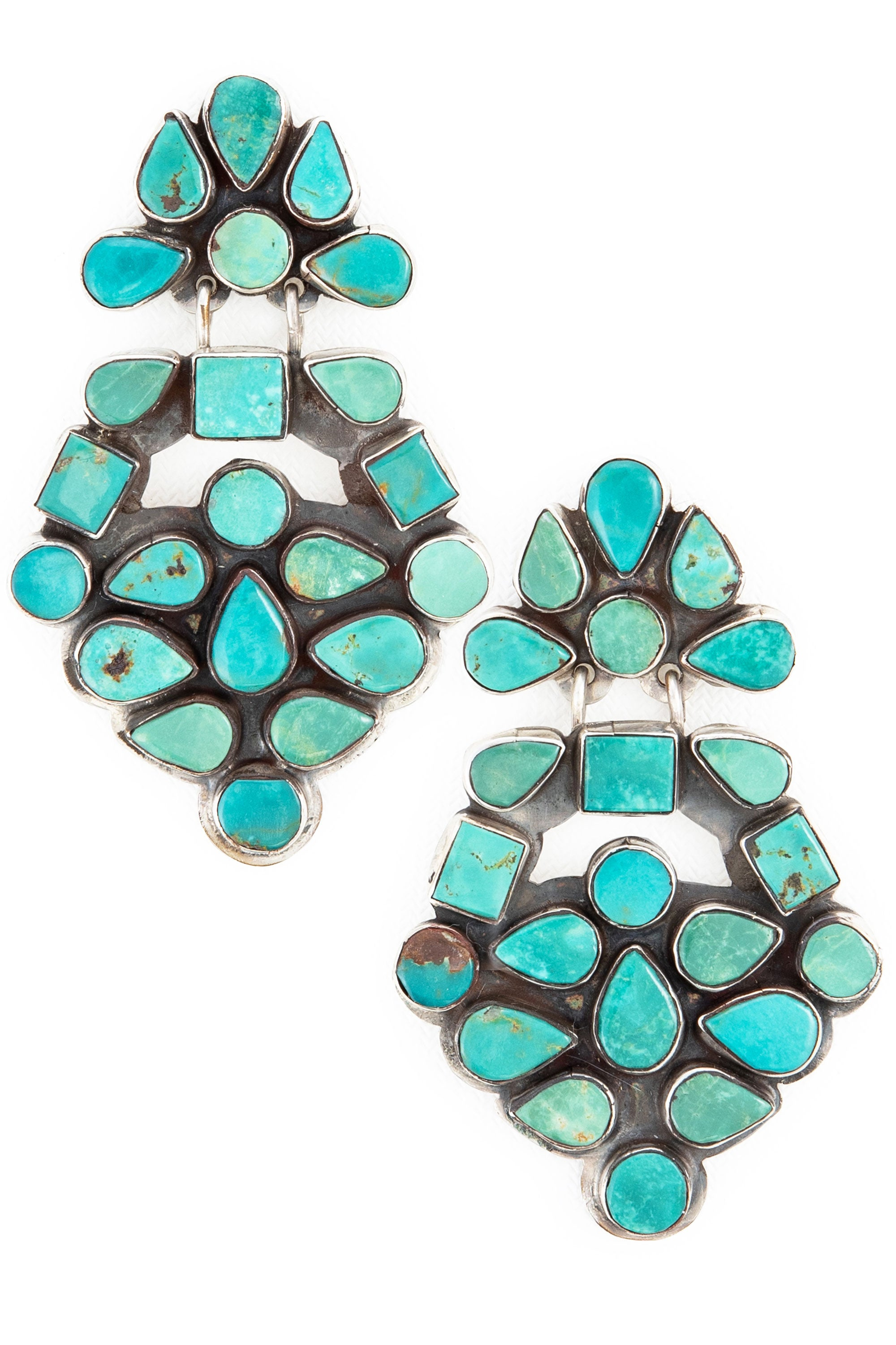 Earrings, Oscar Betz, Chandeliers, Turquoise, Hallmark, 513T1