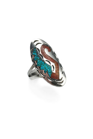 Ring, Inlay, Coral & Turquoise, Vintage, 368