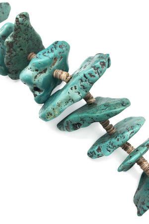 Necklace, Natural Stone, Tab & Heishi, Turquoise, 662