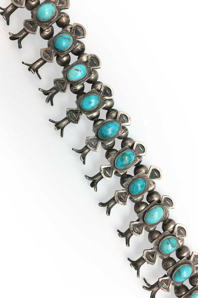 Necklace, Squash Blossom, Turquoise, Vintage, Boxbow, 1940's