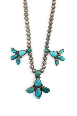 Necklace, Turquoise & Sterling Silver, Vintage, 661