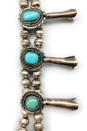 Vintage Squash Blossom Necklace with Turquoise, Navajo