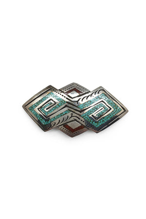Pin, Turquoise & Coral, Chip Inlay, Vintage, Hallmark