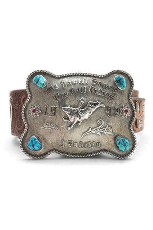 Belt, Trophy Buckle, Tooled Leather Strap, Old Pawn