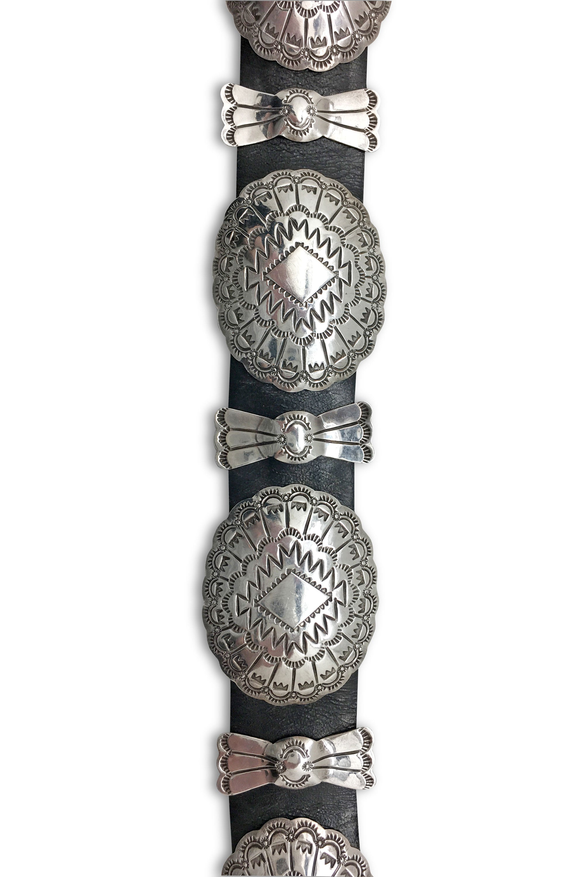Belt, Sterling Silver, Concho & Butterfly, Old Pawn, Hallmark