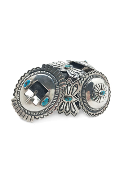 Belt, Concho, Turquoise & Sterling Silver Buckle, Old Pawn