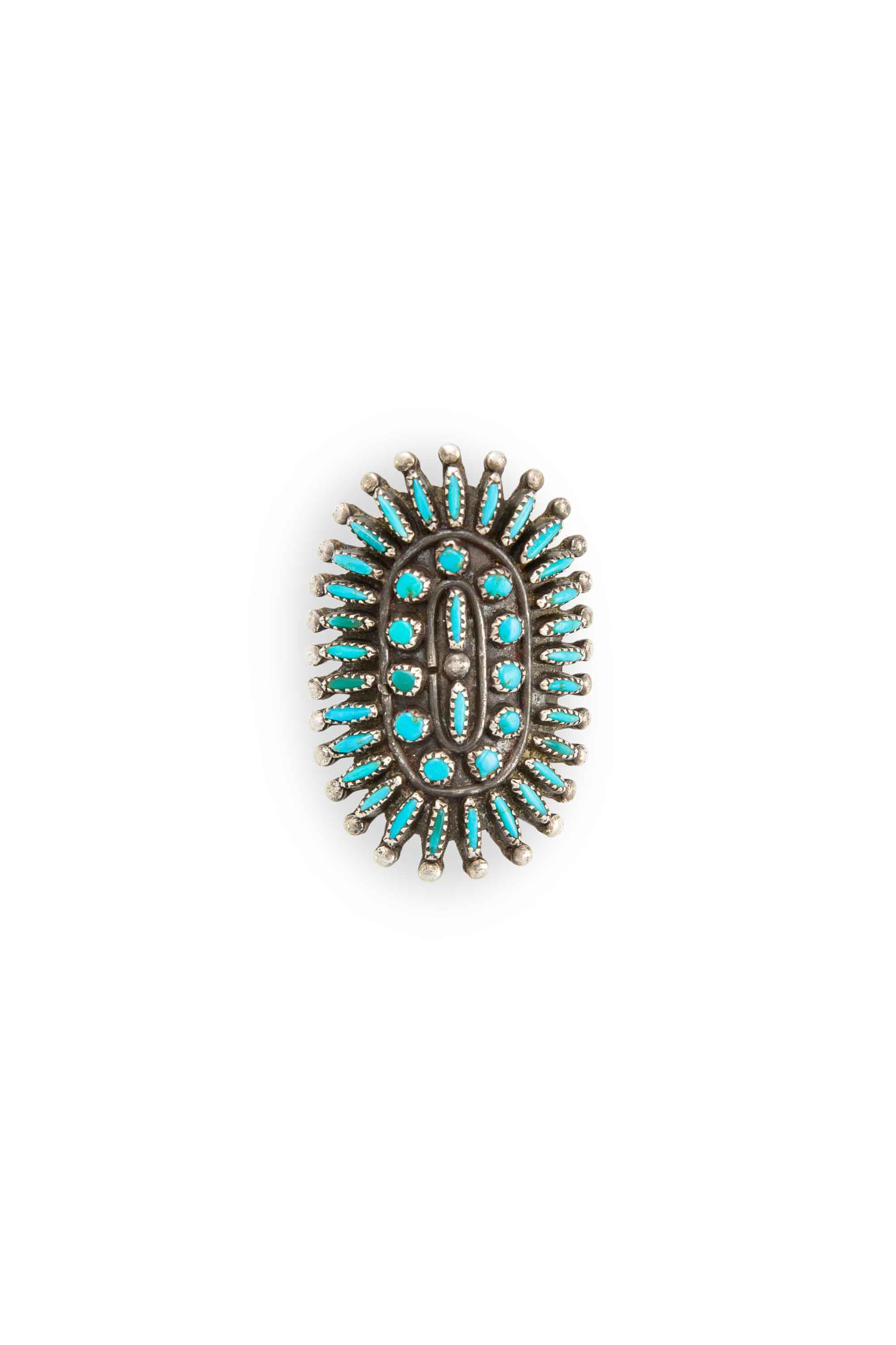 Ring, Turquoise, Cluster, Needlepoint, Vintage, 578