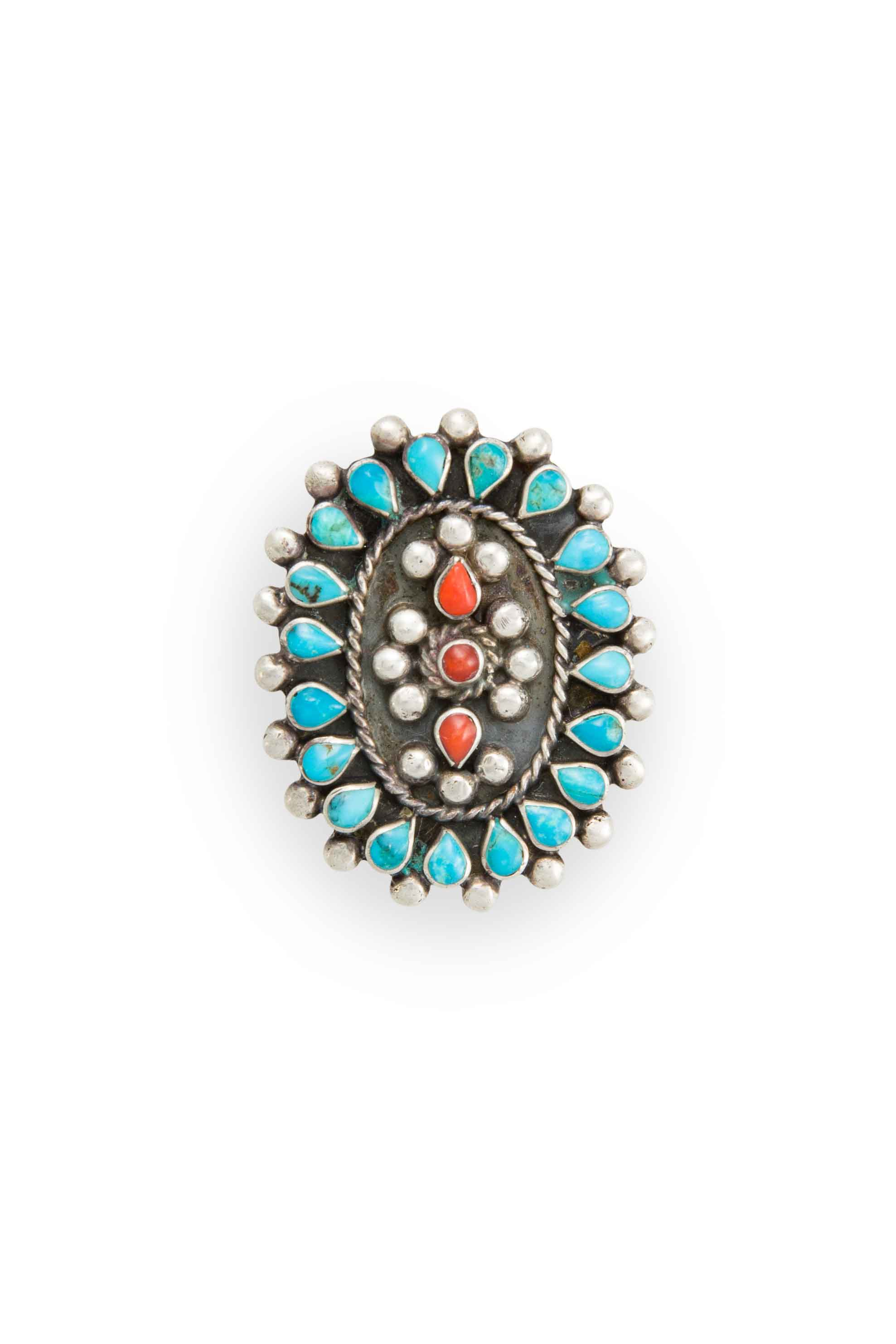 Ring, Turquoise & Coral, Cluster, Vintage, 561