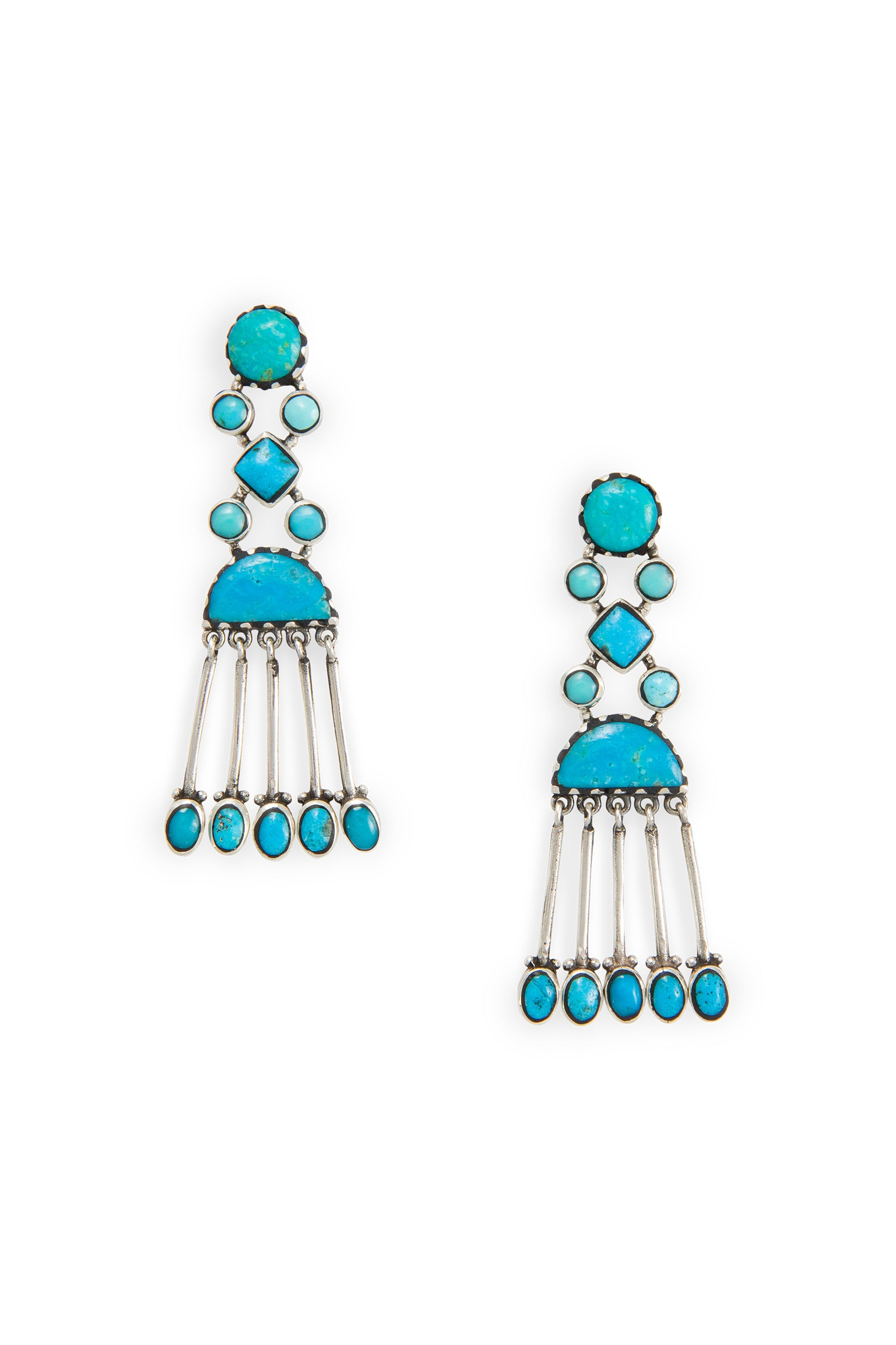 Earrings, Chandelier, Turquoise,  Thunderhead