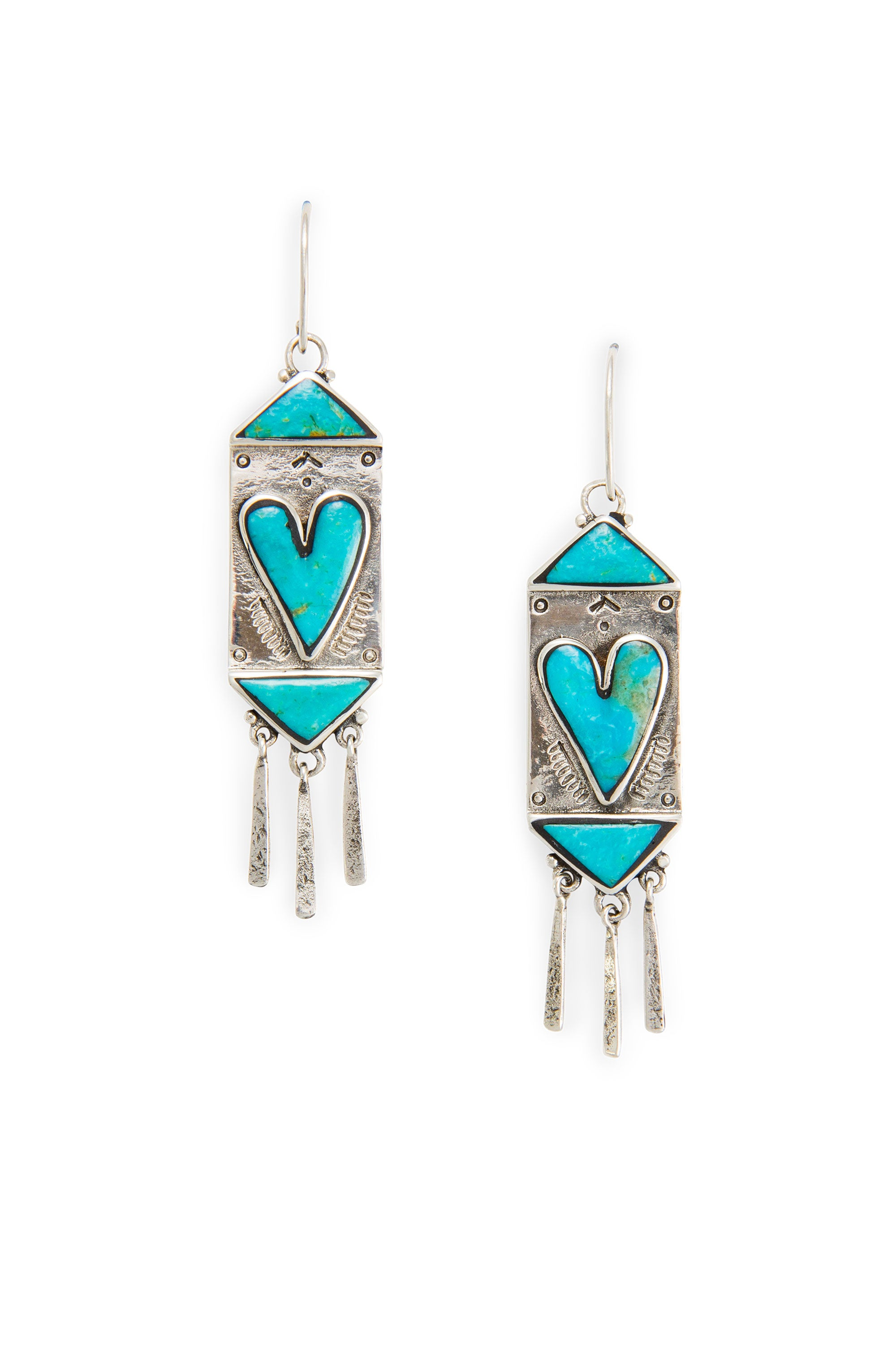 Earrings, Chandelier, Turquoise, Sweet Hearts