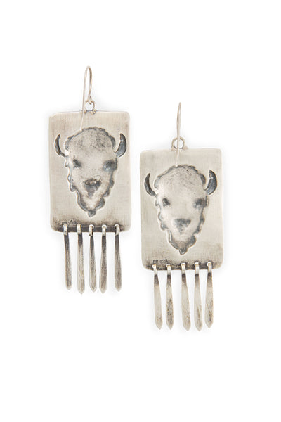 Earrings, Dangle, Sterling, Buffalo Bill
