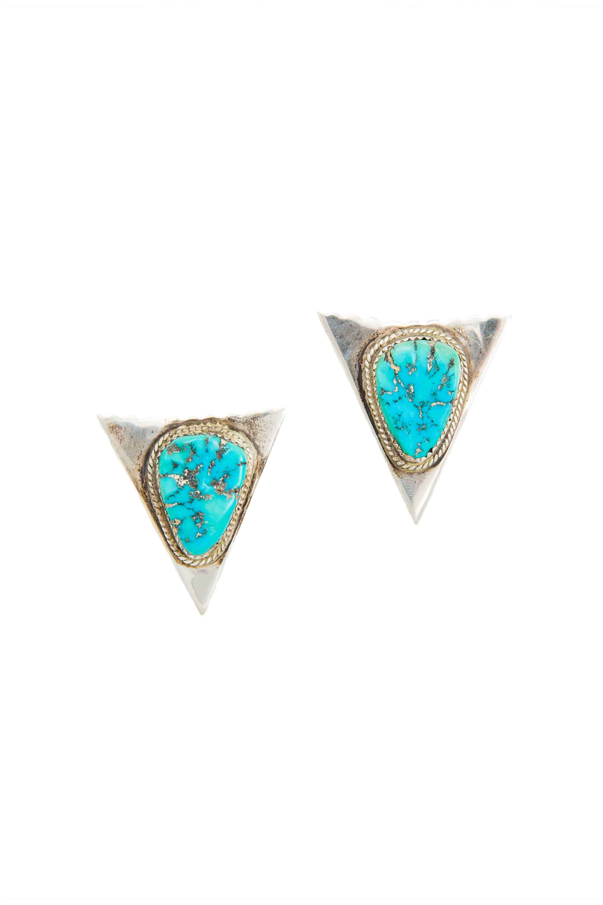 Collar Tips, Sterling Silver & Turquoise, Hallmark, Vintage, 431