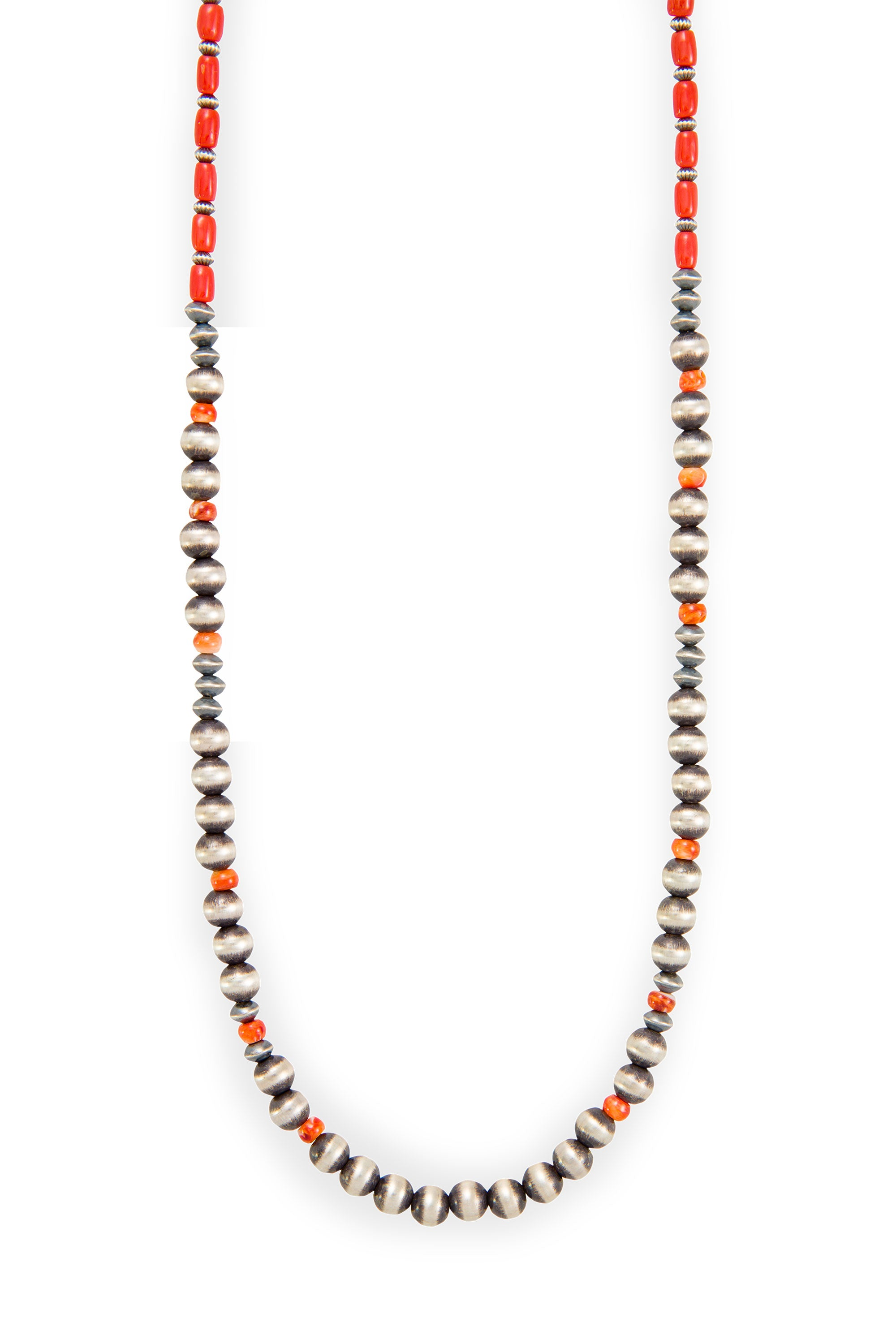Necklace, Bead, Coral & Sterling Silver, Coral Pueblo