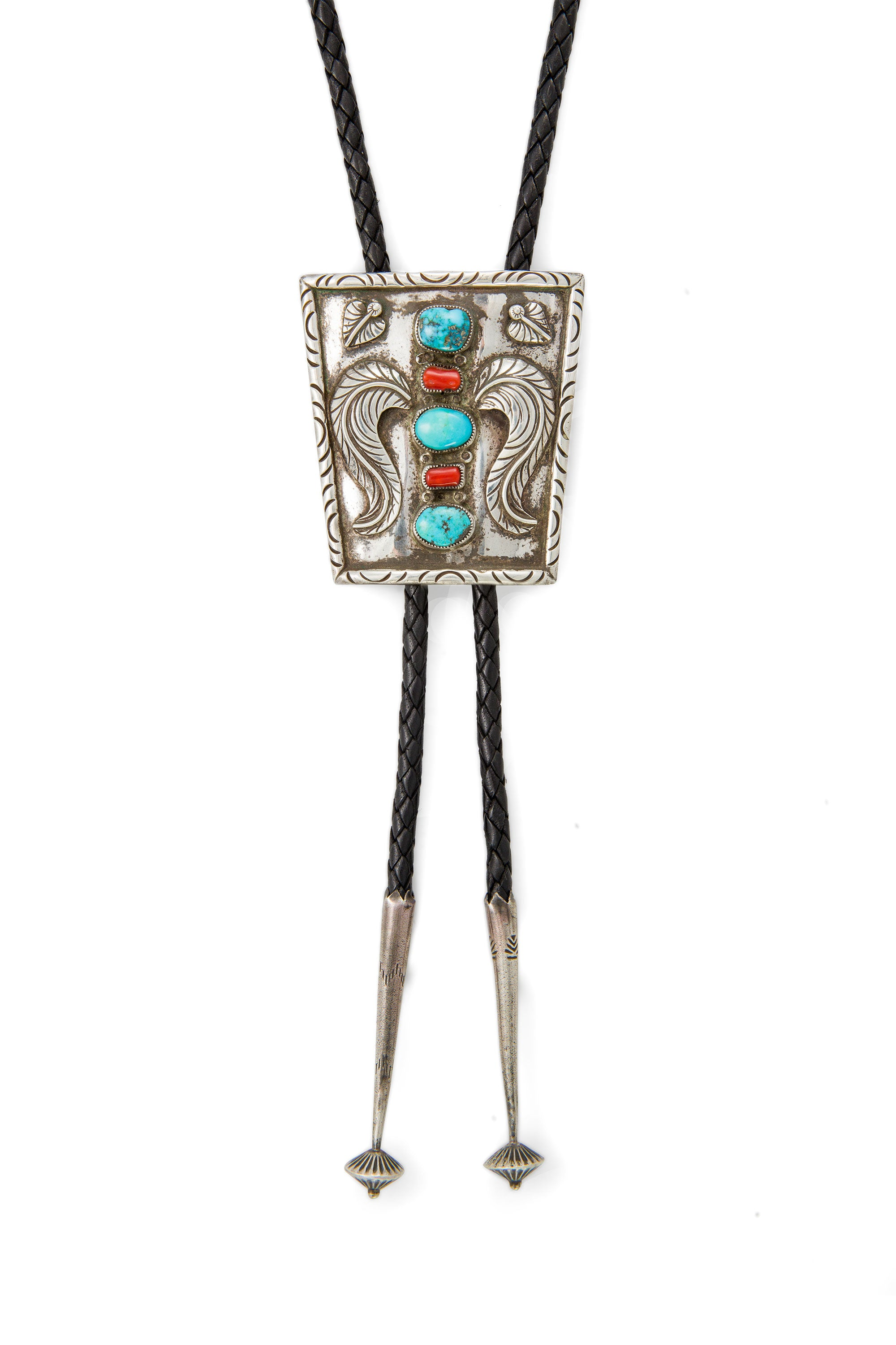 Bolo, Sterling Silver & Turquoise, Coral, Applique, Vintage, '60's, 973