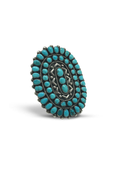 Ring, Cluster, Turquoise, Zuni, Vintage, 417