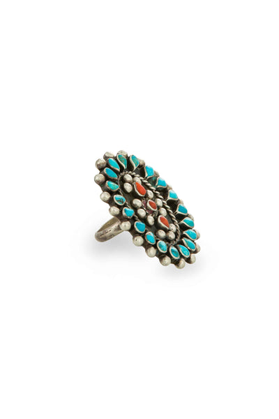 Ring, Cluster, Turquoise & Coral, Vintage, 561