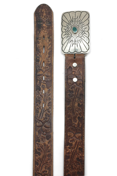 Belt, Concho Buckle, Turquoise & Sterling Silver, Tooled Leather Strap, Hallmark, Vintage, 667