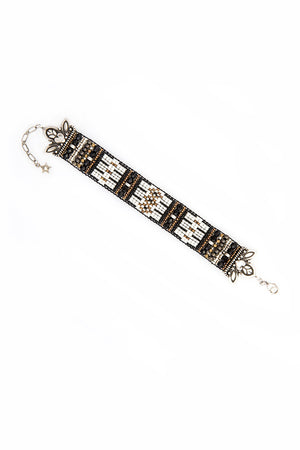 Bracelet, Beaded, Black and White Patrols