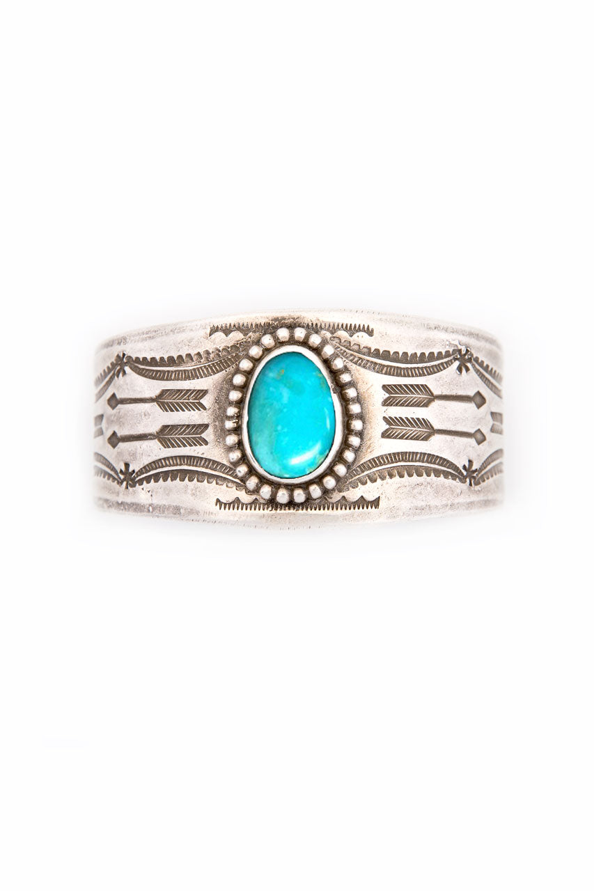 Cuff, Turquoise, Single Stone, Night Journey