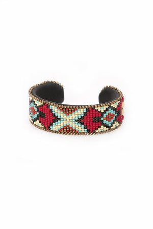 Cuff, Beaded, Red Fly Cross