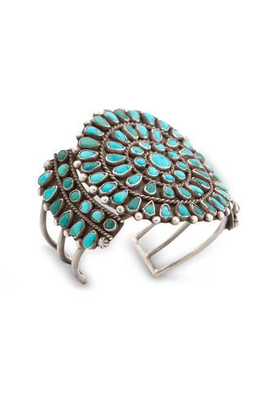 Cuff, Turquoise, Cluster, Vintage, 1940's 2381