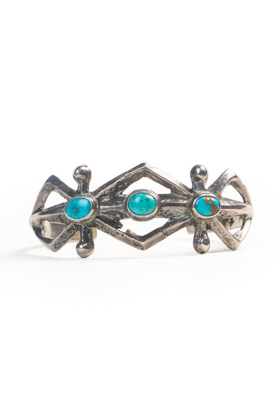 Cuff, Turquoise, 3 Stone, Vintage, 2559