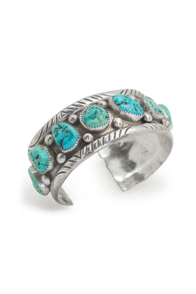 Cuff, Turquoise, 6 Stone, Vintage, 2576