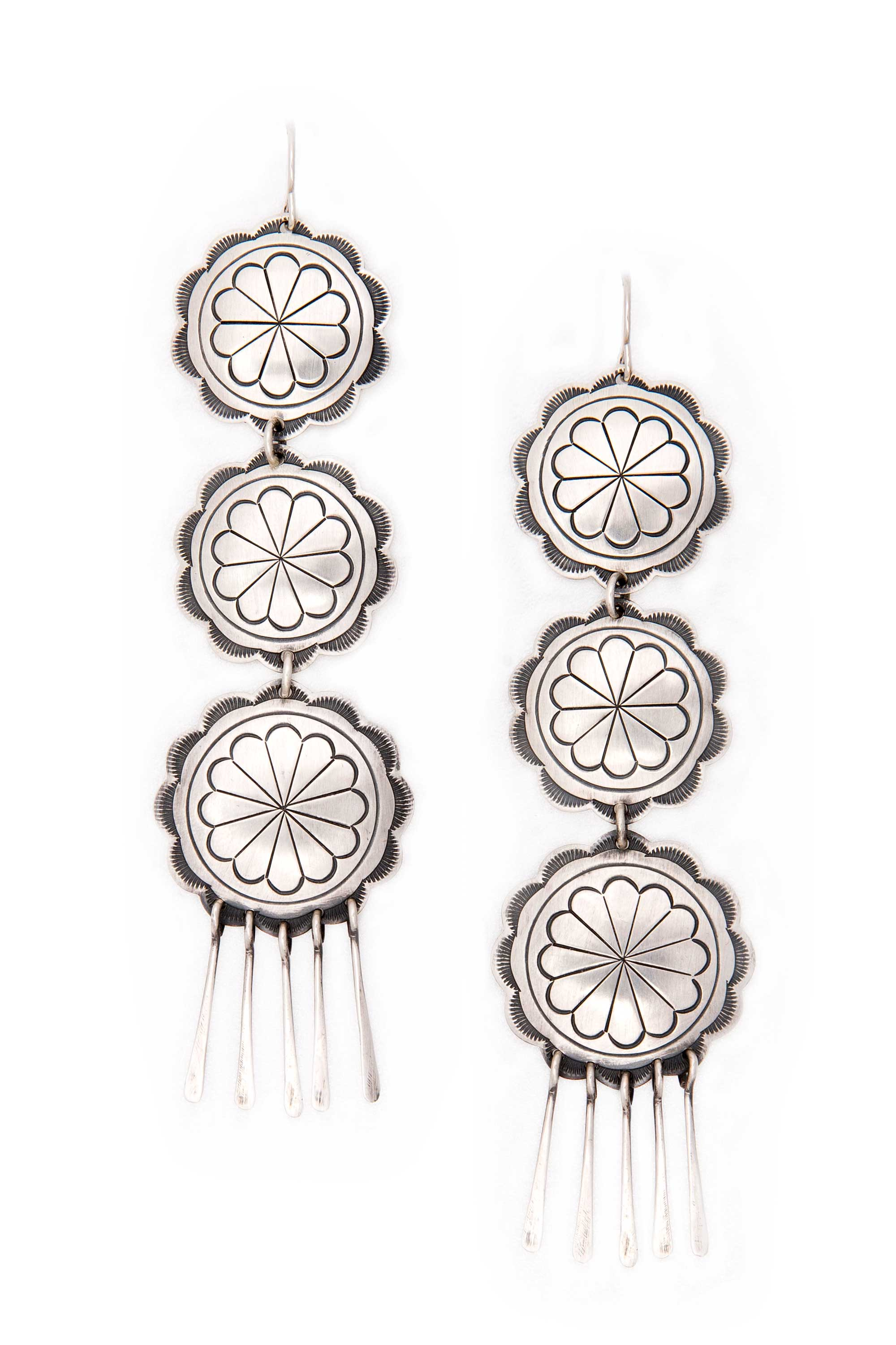 Earrings, Concho, Standing Rock