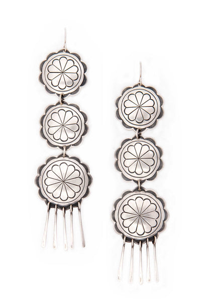 Earrings, Concho, Sterling Silver, Standing Rock, 150