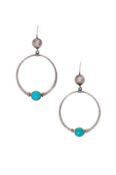 Earrings, Hoop, Sterling Silver & Turquoise, Antonia, 154