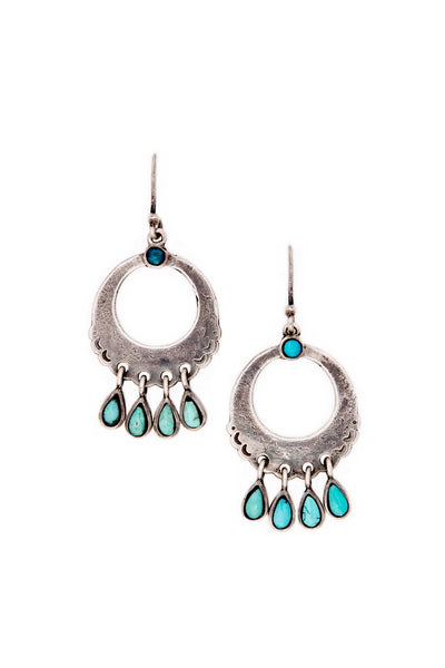 Earrings, Hoop, Sterling Silver & Turquoise, Chical, 155