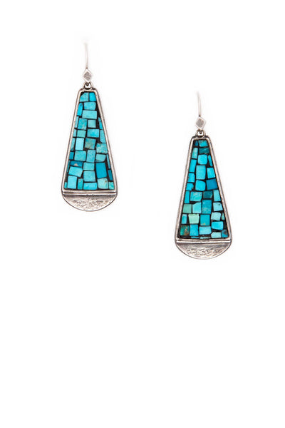 Earrings, Mosaic, Turquoise, Sacred Hills, 158