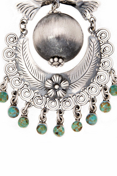 Earrings, Mazahua, Chandelier, Turquoise, Que Pasa, 188