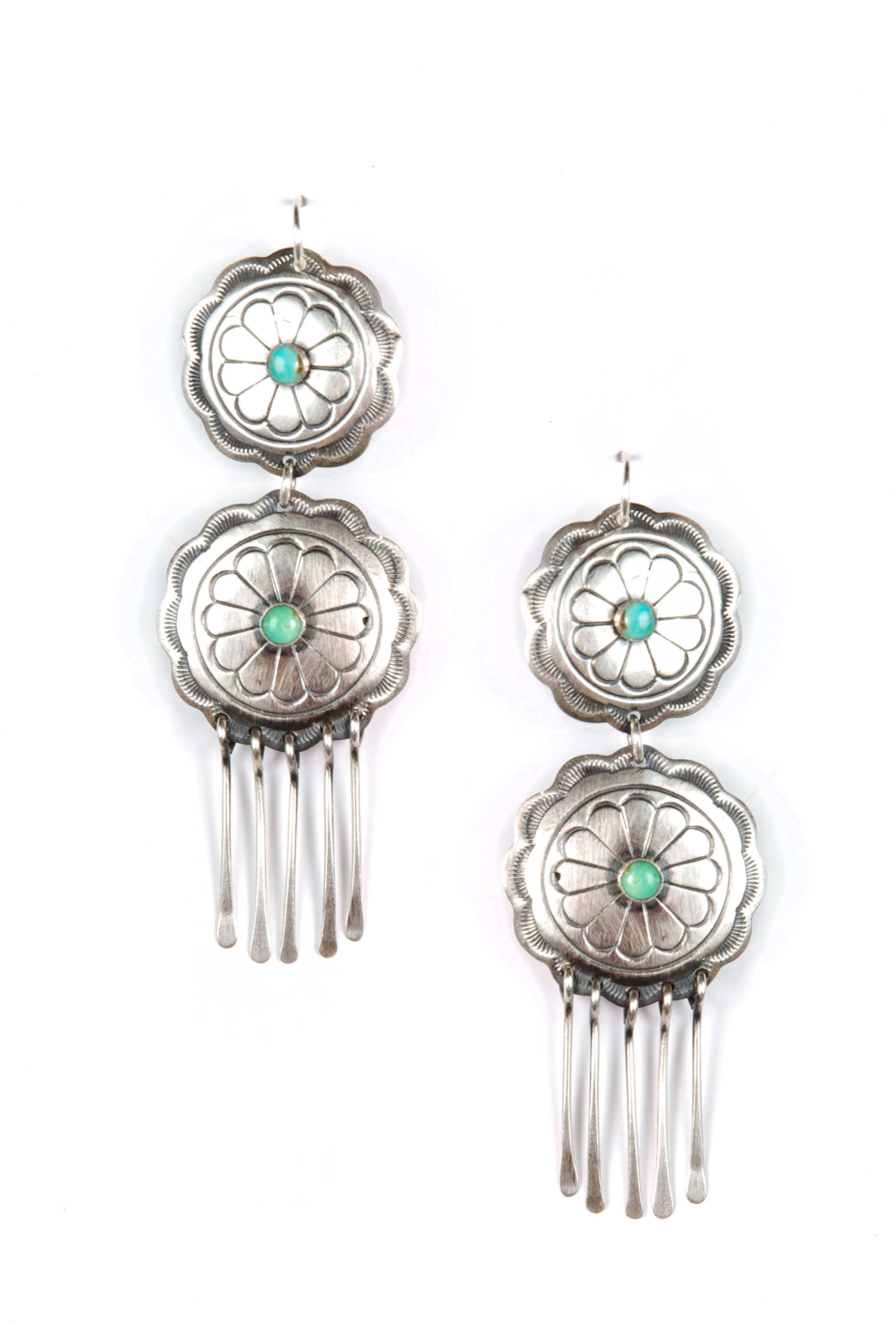 Earrings, Concho, Sterling Silver & Turquoise, Turquoise Wheel, 263