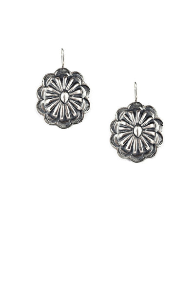 Earrings, Concho, Sterling Silver, Jalisco, 344