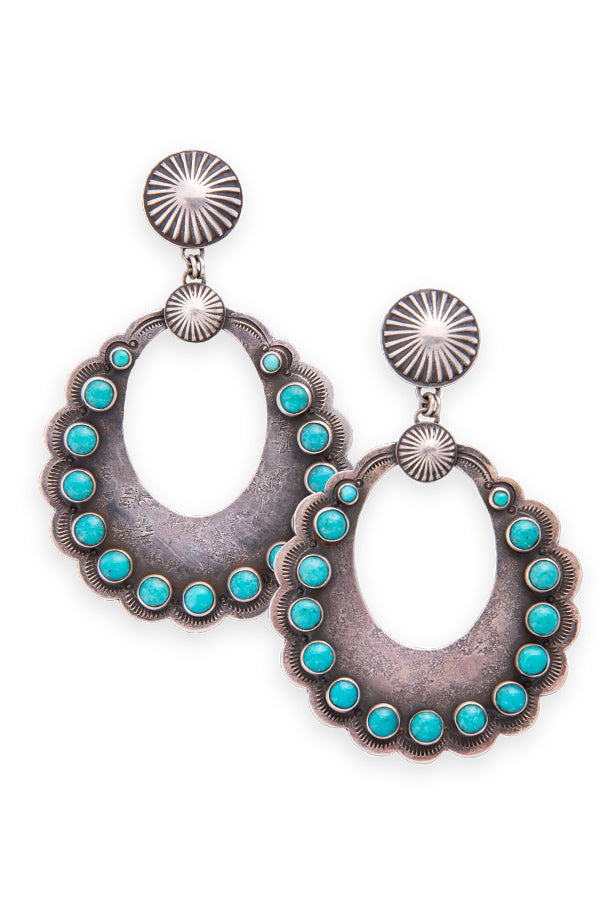 Earrings, Hoop, Sterling Silver & Turquoise, Dennis Hogan, 349